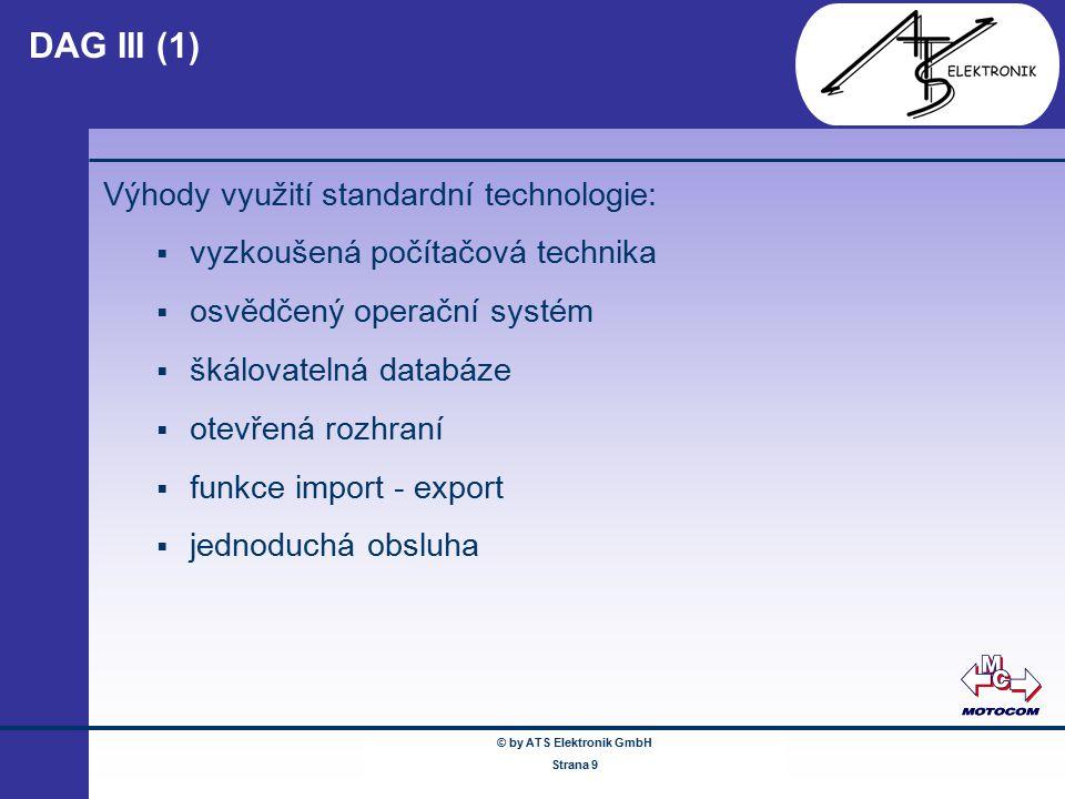 © by ATS Elektronik GmbH Februar 2005 www.ATSonline.de Seite 9 DAG III (1) Výhody využití standardní technologie:  vyzkoušená počítačová technika  o