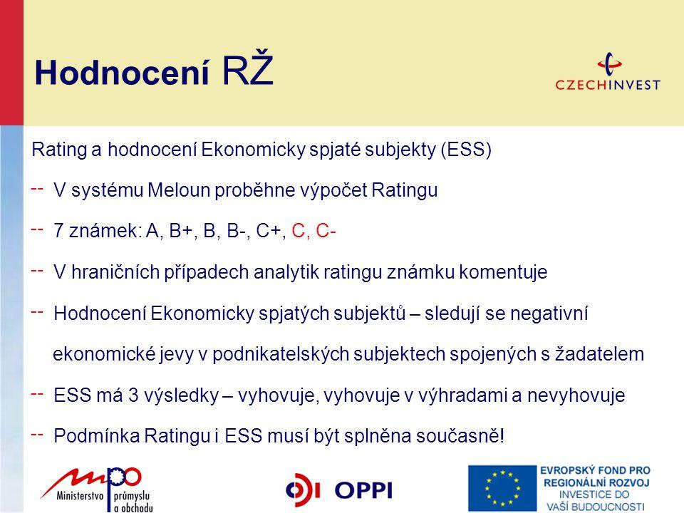 Hodnocení RŽ Rating a hodnocení Ekonomicky spjaté subjekty (ESS) ╌ V systému Meloun proběhne výpočet Ratingu ╌ 7 známek: A, B+, B, B-, C+, C, C- ╌ V h