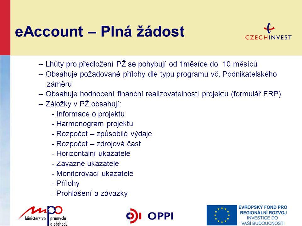 eAccount – Plná žádost -- Lhůty pro předložení PŽ se pohybují od 1měsíce do 10 měsíců -- Obsahuje požadované přílohy dle typu programu vč. Podnikatels
