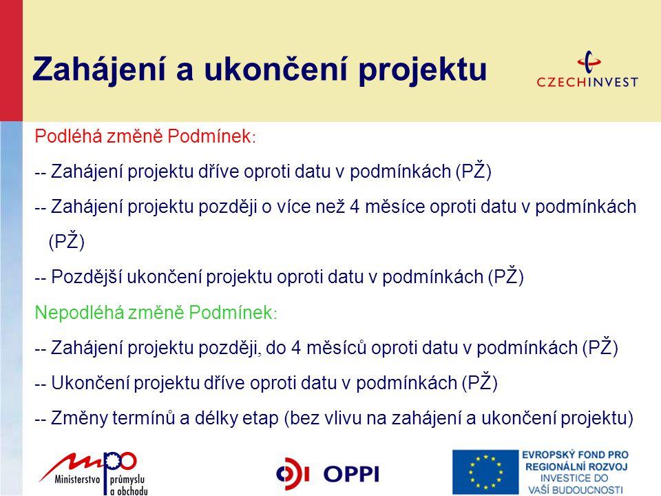 Zahájení a ukončení projektu Podléhá změně Podmínek : -- Zahájení projektu dříve oproti datu v podmínkách (PŽ) -- Zahájení projektu později o více než