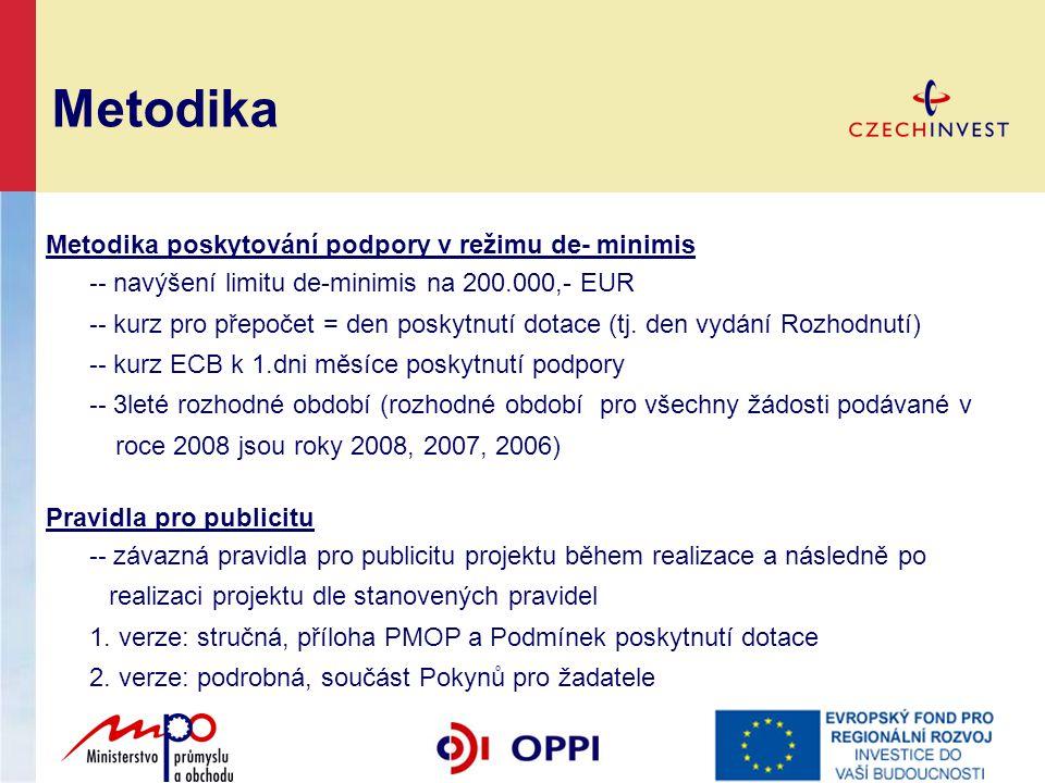 Metodika poskytování podpory v režimu de- minimis -- navýšení limitu de-minimis na 200.000,- EUR -- kurz pro přepočet = den poskytnutí dotace (tj. den