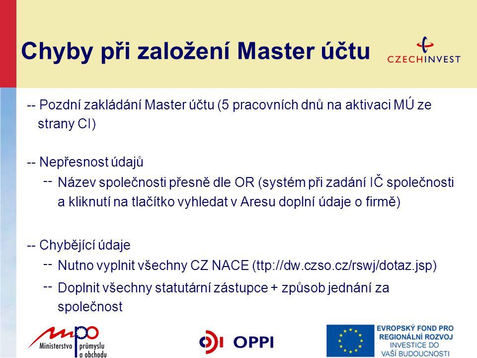 Chyby při založení Master účtu -- Pozdní zakládání Master účtu (5 pracovních dnů na aktivaci MÚ ze strany CI) -- Nepřesnost údajů ╌ Název společnosti