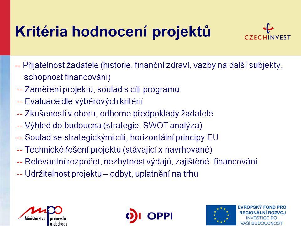Kritéria hodnocení projektů -- Přijatelnost žadatele (historie, finanční zdraví, vazby na další subjekty, schopnost financování) -- Zaměření projektu,