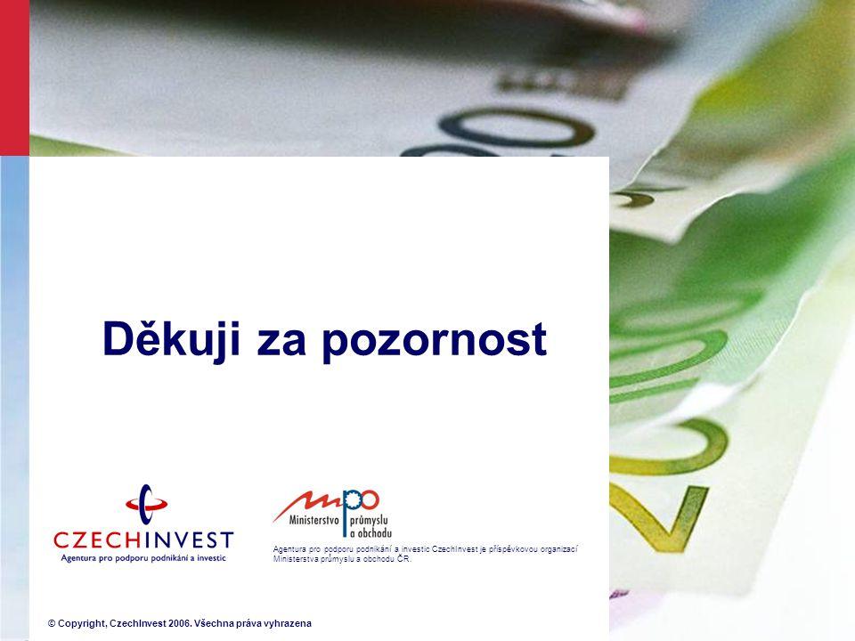 Agentura pro podporu podnikání a investic CzechInvest je příspěvkovou organizací Ministerstva průmyslu a obchodu ČR. © Copyright, CzechInvest 2006. Vš