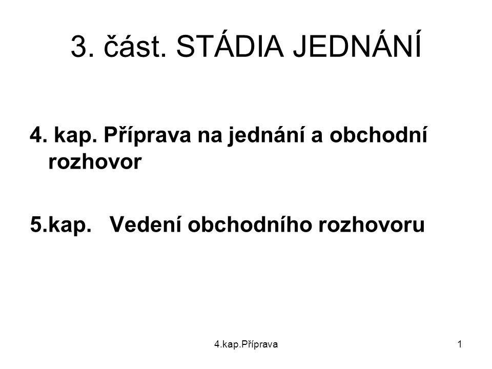 4.kap.Příprava2 STADIA JEDNÁNÍ (část třetí) PŘÍPRAVA JEDNÁNÍ – 4.