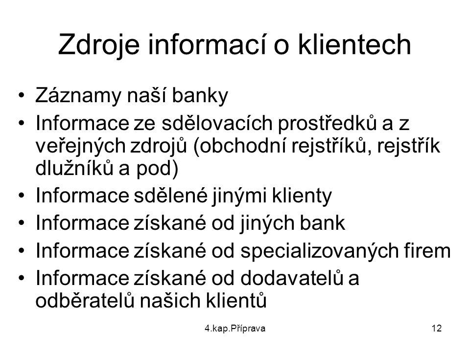 4.kap.Příprava12 Zdroje informací o klientech Záznamy naší banky Informace ze sdělovacích prostředků a z veřejných zdrojů (obchodní rejstříků, rejstří