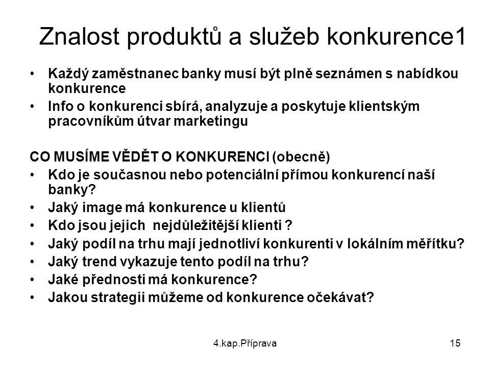 4.kap.Příprava15 Znalost produktů a služeb konkurence1 Každý zaměstnanec banky musí být plně seznámen s nabídkou konkurence Info o konkurenci sbírá, a