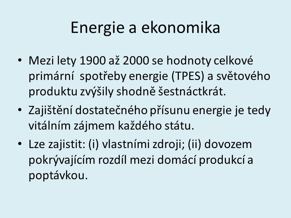 Energie a ekonomika Mezi lety 1900 až 2000 se hodnoty celkové primární spotřeby energie (TPES) a světového produktu zvýšily shodně šestnáctkrát. Zajiš