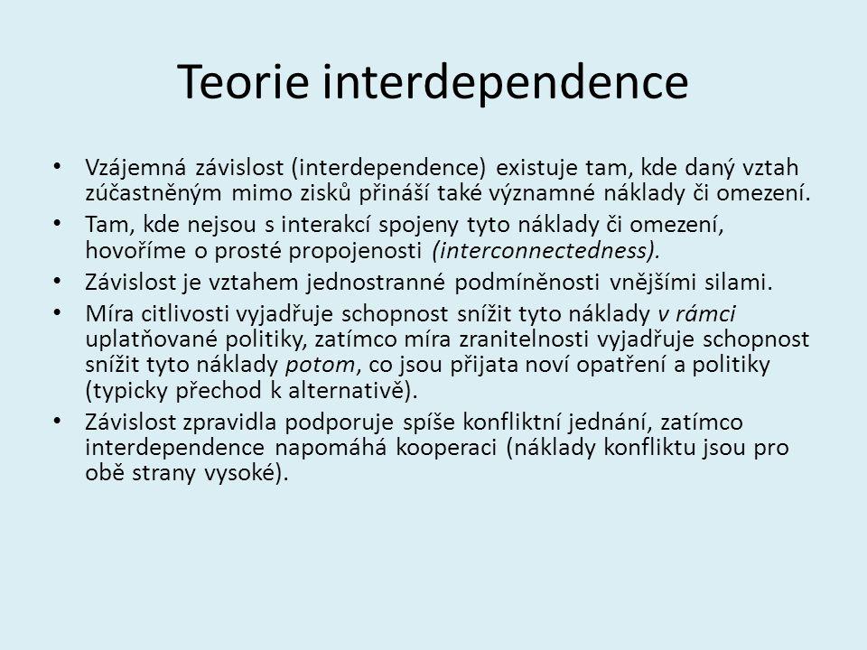 Teorie interdependence Vzájemná závislost (interdependence) existuje tam, kde daný vztah zúčastněným mimo zisků přináší také významné náklady či omeze