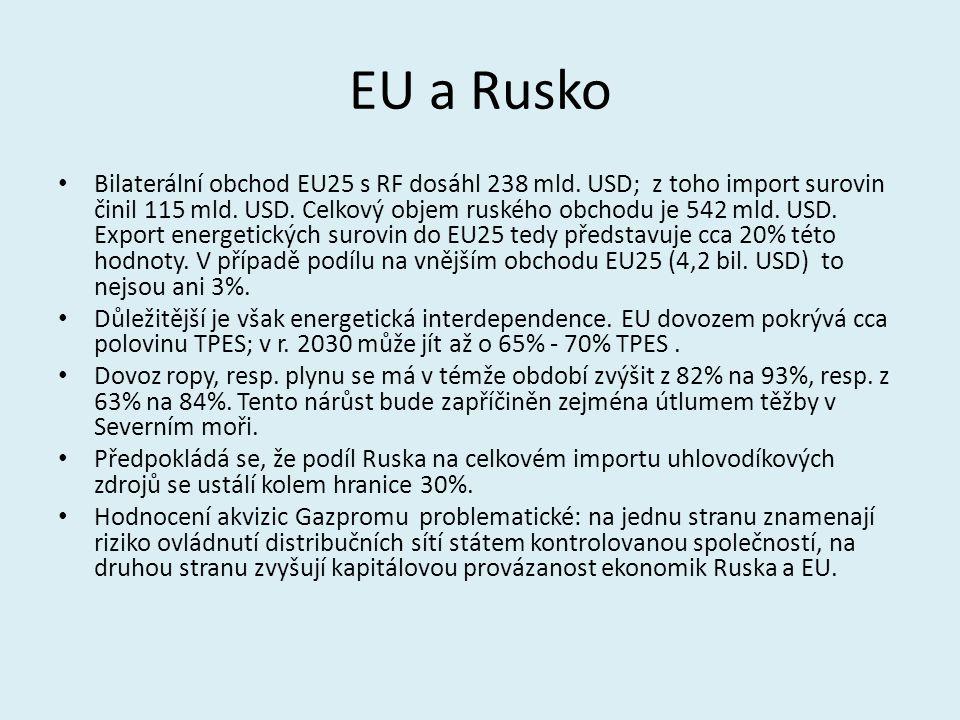 EU a Rusko Bilaterální obchod EU25 s RF dosáhl 238 mld. USD; z toho import surovin činil 115 mld. USD. Celkový objem ruského obchodu je 542 mld. USD.