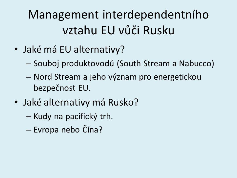 Management interdependentního vztahu EU vůči Rusku Jaké má EU alternativy? – Souboj produktovodů (South Stream a Nabucco) – Nord Stream a jeho význam