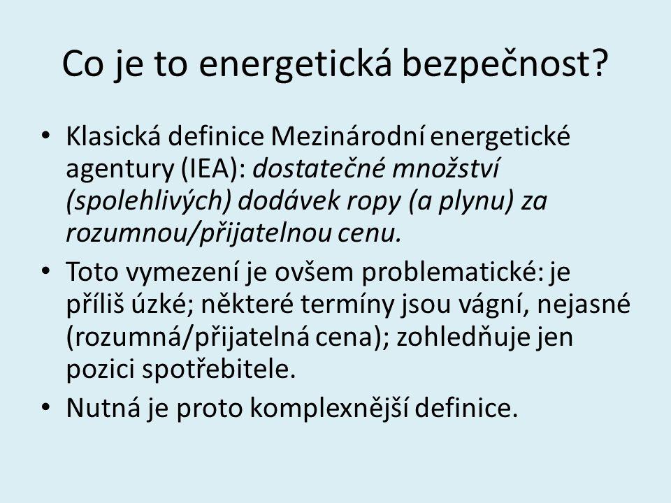 Co je to energetická bezpečnost? Klasická definice Mezinárodní energetické agentury (IEA): dostatečné množství (spolehlivých) dodávek ropy (a plynu) z