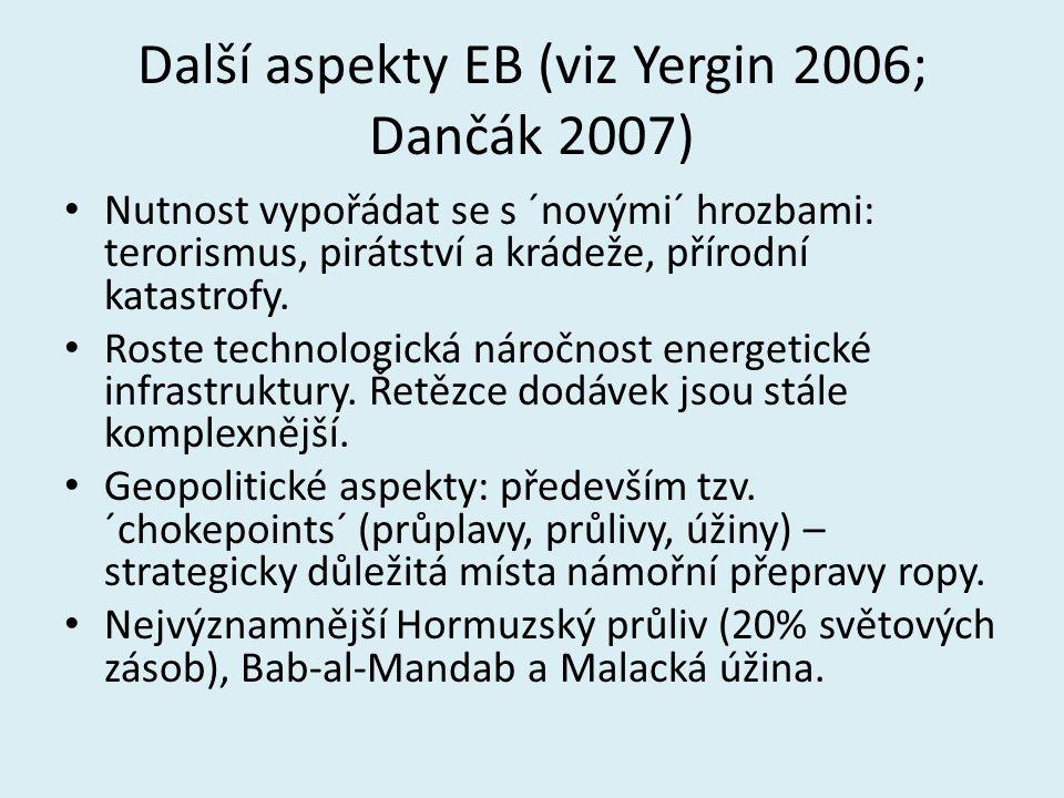Další aspekty EB (viz Yergin 2006; Dančák 2007) Nutnost vypořádat se s ´novými´ hrozbami: terorismus, pirátství a krádeže, přírodní katastrofy. Roste