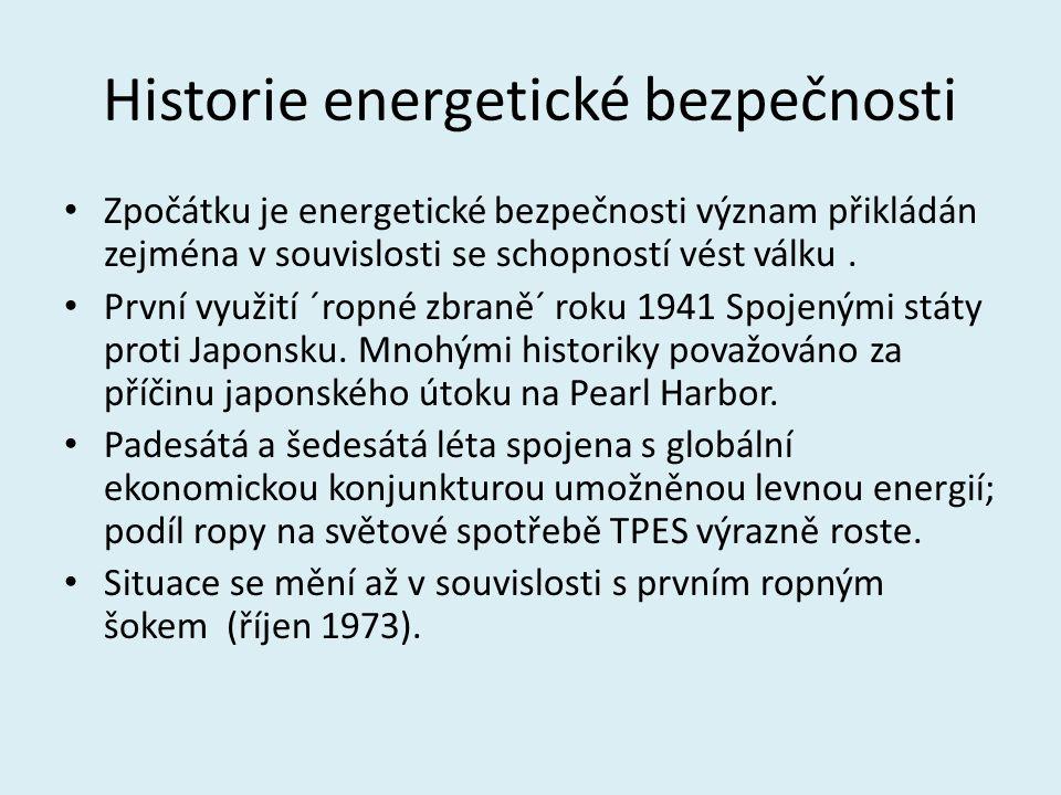 Historie energetické bezpečnosti Zpočátku je energetické bezpečnosti význam přikládán zejména v souvislosti se schopností vést válku. První využití ´r