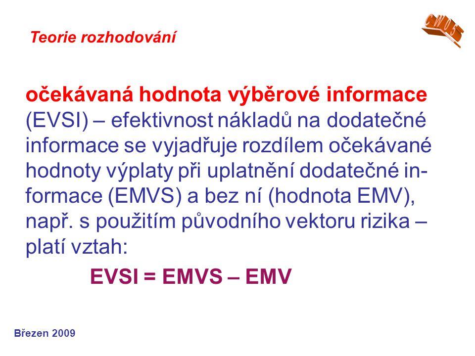 očekávaná hodnota výběrové informace (EVSI) – efektivnost nákladů na dodatečné informace se vyjadřuje rozdílem očekávané hodnoty výplaty při uplatnění