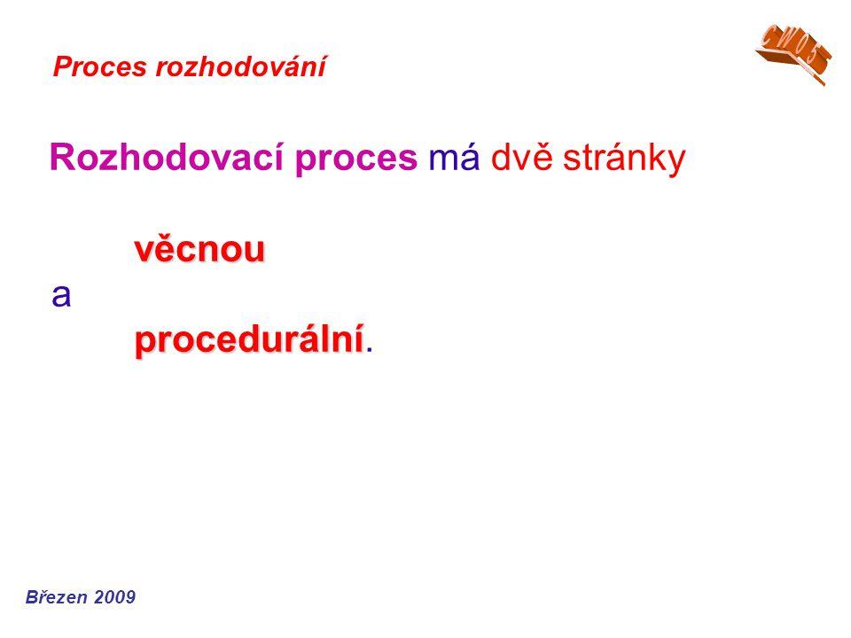 věcnou procedurální Rozhodovací proces má dvě stránky věcnou a procedurální. Proces rozhodování Březen 2009