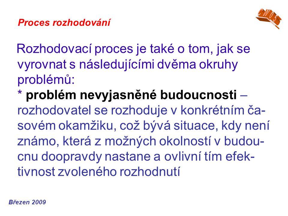 Rozhodovací proces je také o tom, jak se vyrovnat s následujícími dvěma okruhy problémů: * problém nevyjasněné budoucnosti – rozhodovatel se rozhoduje