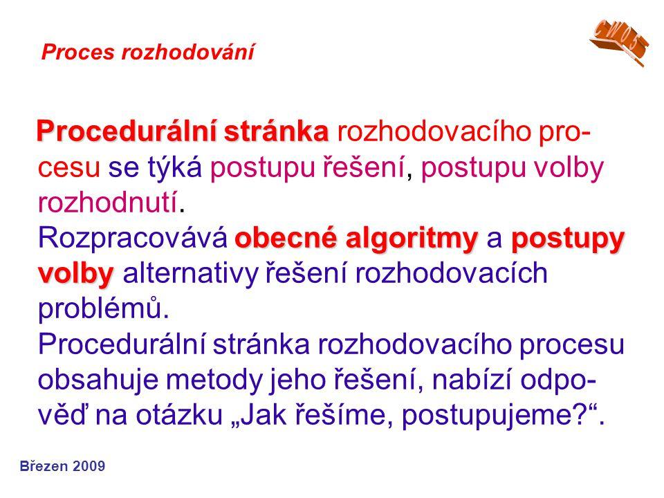 Procedurální stránka obecné algoritmypostupy volby Procedurální stránka rozhodovacího pro- cesu se týká postupu řešení, postupu volby rozhodnutí. Rozp