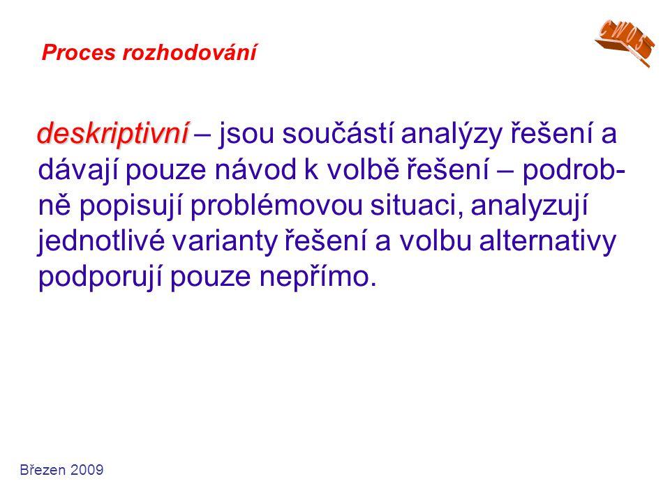 deskriptivní deskriptivní – jsou součástí analýzy řešení a dávají pouze návod k volbě řešení – podrob- ně popisují problémovou situaci, analyzují jedn