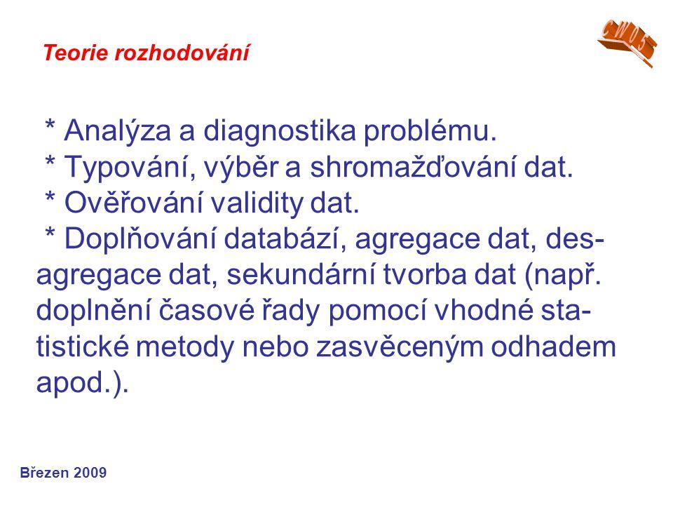 * Analýza a diagnostika problému. * Typování, výběr a shromažďování dat. * Ověřování validity dat. * Doplňování databází, agregace dat, des- agregace