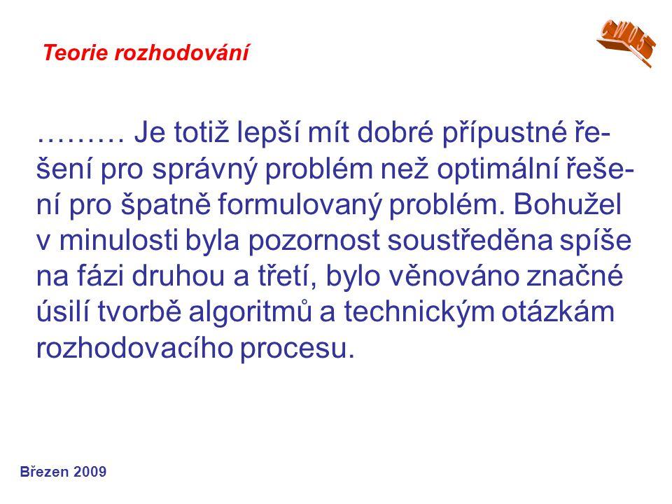 ……… Je totiž lepší mít dobré přípustné ře- šení pro správný problém než optimální řeše- ní pro špatně formulovaný problém. Bohužel v minulosti byla po