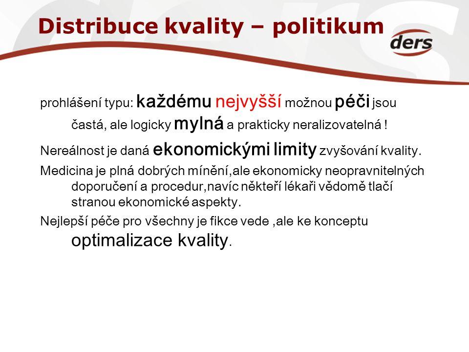 Distribuce kvality – politikum prohlášení typu: každému nejvyšší možnou péči jsou častá, ale logicky mylná a prakticky neralizovatelná ! Nereálnost je