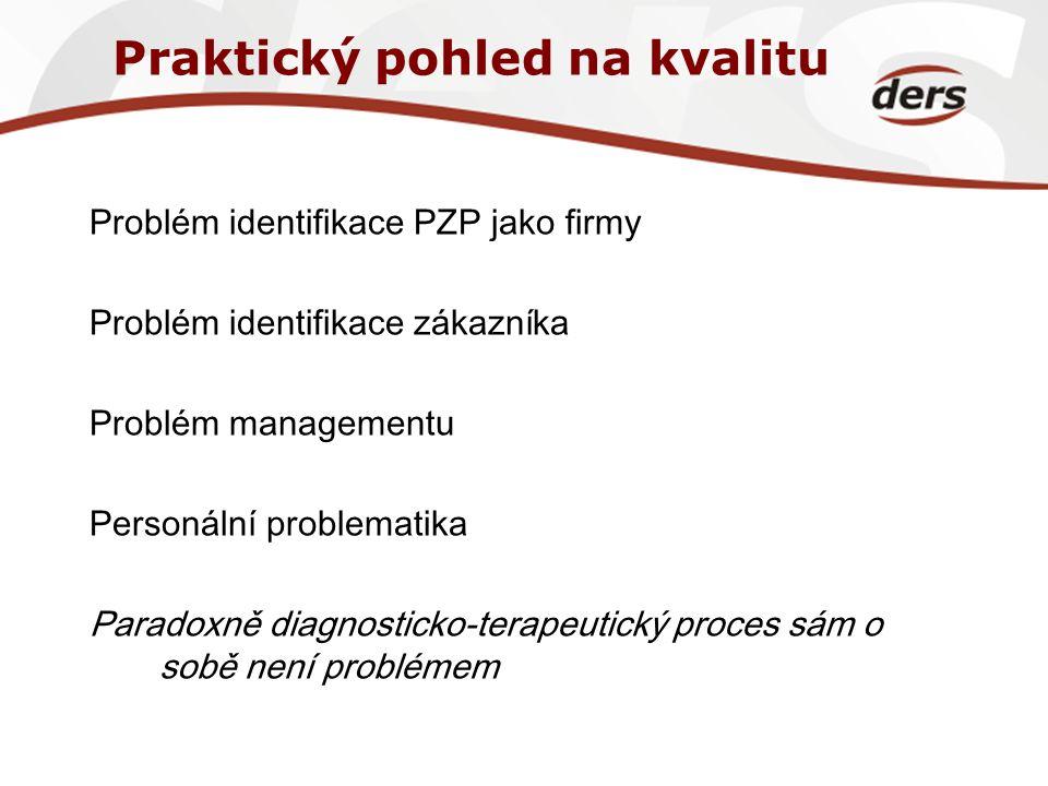 Praktický pohled na kvalitu Problém identifikace PZP jako firmy Problém identifikace zákazníka Problém managementu Personální problematika Paradoxně d