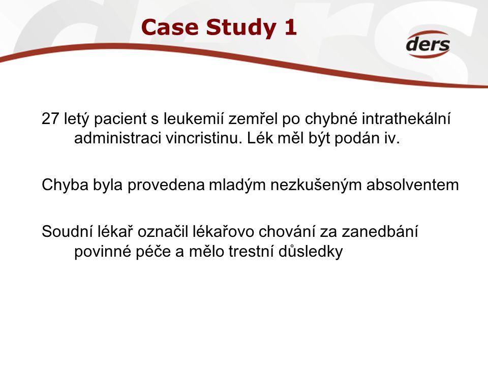 Case Study 1 27 letý pacient s leukemií zemřel po chybné intrathekální administraci vincristinu. Lék měl být podán iv. Chyba byla provedena mladým nez