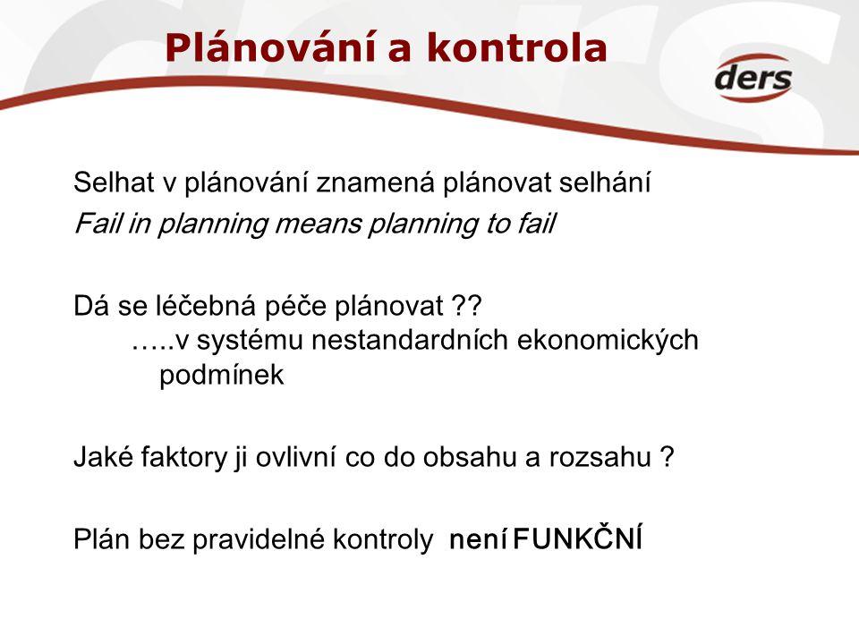 Plánování a kontrola Selhat v plánování znamená plánovat selhání Fail in planning means planning to fail Dá se léčebná péče plánovat ?? …..v systému n
