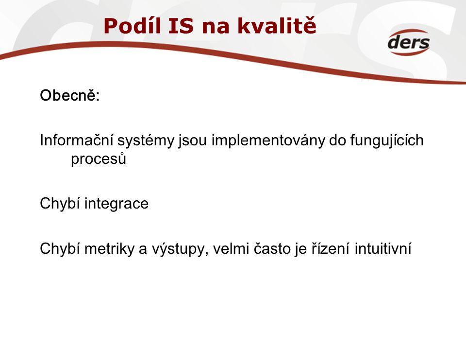 Podíl IS na kvalitě Obecně: Informační systémy jsou implementovány do fungujících procesů Chybí integrace Chybí metriky a výstupy, velmi často je říze
