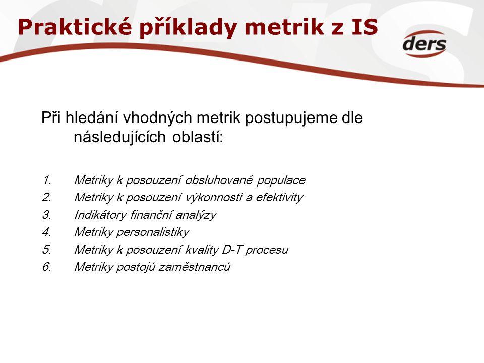 Praktické příklady metrik z IS Při hledání vhodných metrik postupujeme dle následujících oblastí: 1.Metriky k posouzení obsluhované populace 2.Metriky