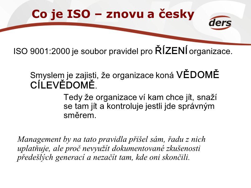 Co je ISO – znovu a česky ISO 9001:2000 je soubor pravidel pro ŘÍZENÍ organizace. Smyslem je zajisti, že organizace koná VĚDOMĚ CÍLEVĚDOMĚ. Tedy že or