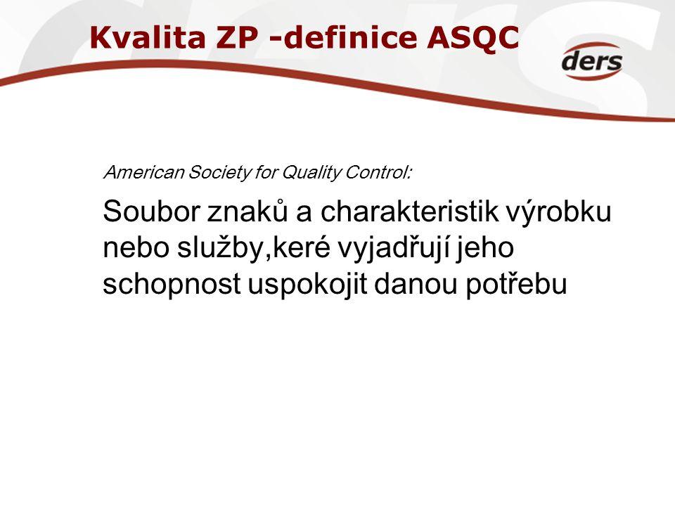Kvalita ZP -definice ASQC American Society for Quality Control: Soubor znaků a charakteristik výrobku nebo služby,keré vyjadřují jeho schopnost uspoko