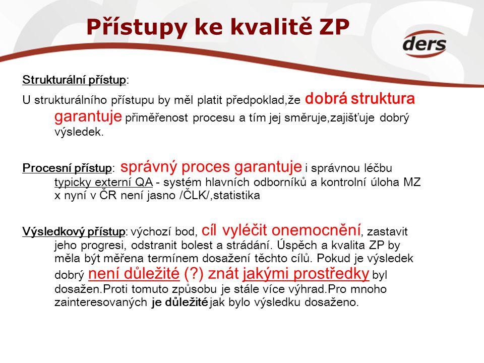Přístupy ke kvalitě ZP Strukturální přístup: U strukturálního přístupu by měl platit předpoklad,že dobrá struktura garantuje přiměřenost procesu a tím