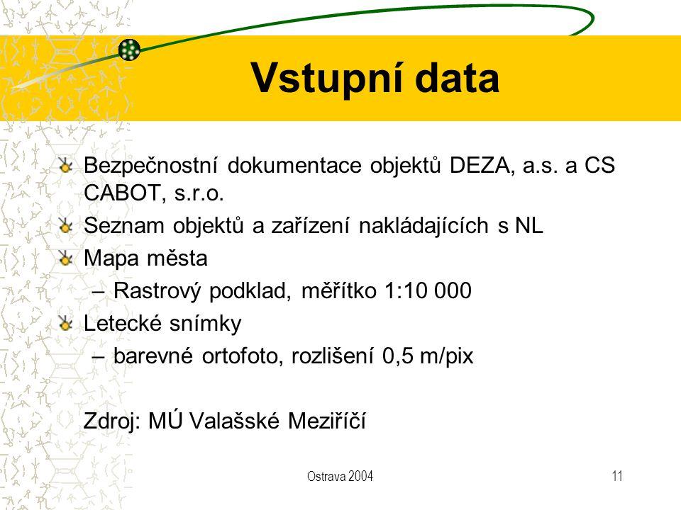 Ostrava 200411 Vstupní data Bezpečnostní dokumentace objektů DEZA, a.s. a CS CABOT, s.r.o. Seznam objektů a zařízení nakládajících s NL Mapa města –Ra