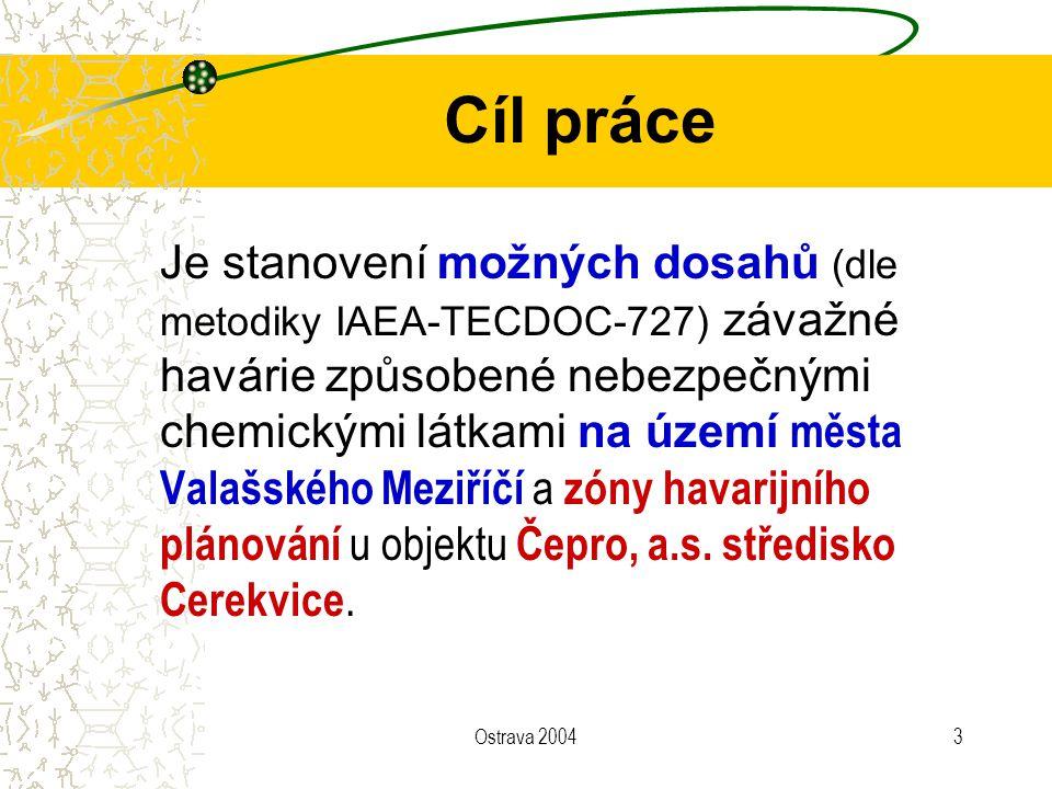 Ostrava 20043 Cíl práce Je stanovení možných dosahů (dle metodiky IAEA-TECDOC-727) závažné havárie způsobené nebezpečnými chemickými látkami na území