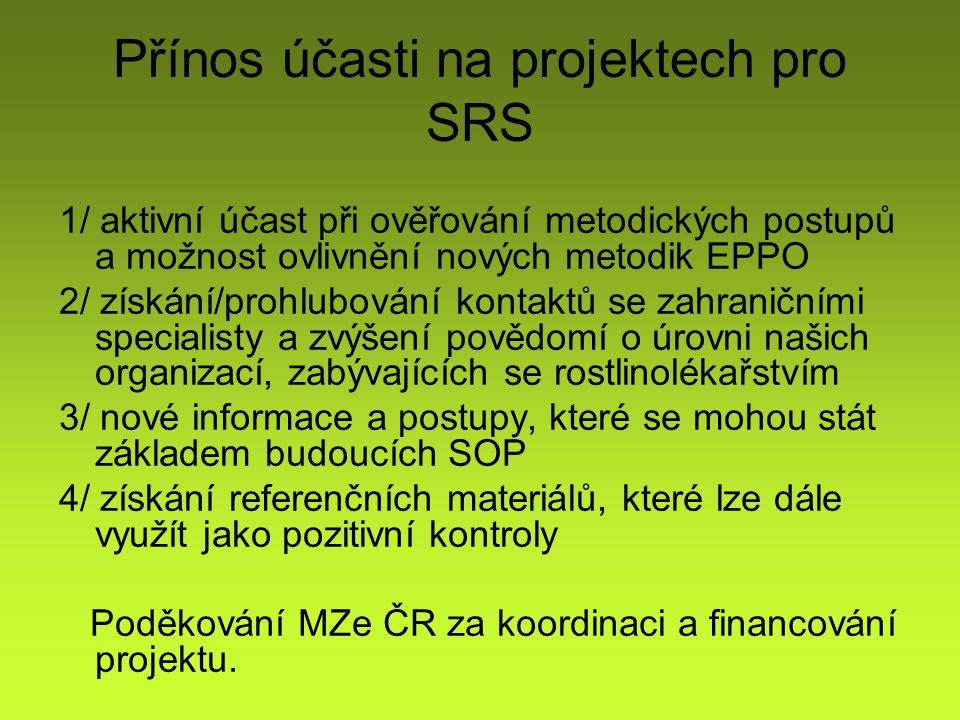 Přínos účasti na projektech pro SRS 1/ aktivní účast při ověřování metodických postupů a možnost ovlivnění nových metodik EPPO 2/ získání/prohlubování kontaktů se zahraničními specialisty a zvýšení povědomí o úrovni našich organizací, zabývajících se rostlinolékařstvím 3/ nové informace a postupy, které se mohou stát základem budoucích SOP 4/ získání referenčních materiálů, které lze dále využít jako pozitivní kontroly Poděkování MZe ČR za koordinaci a financování projektu.