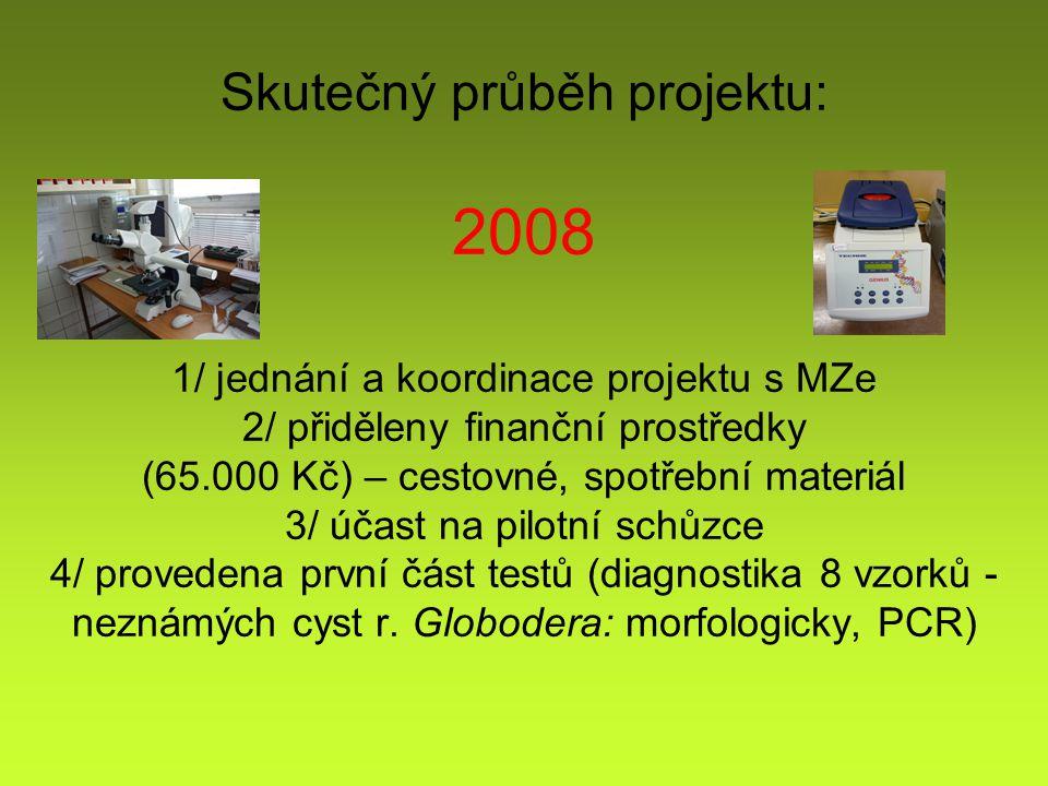 Skutečný průběh projektu: 2008 1/ jednání a koordinace projektu s MZe 2/ přiděleny finanční prostředky (65.000 Kč) – cestovné, spotřební materiál 3/ účast na pilotní schůzce 4/ provedena první část testů (diagnostika 8 vzorků - neznámých cyst r.