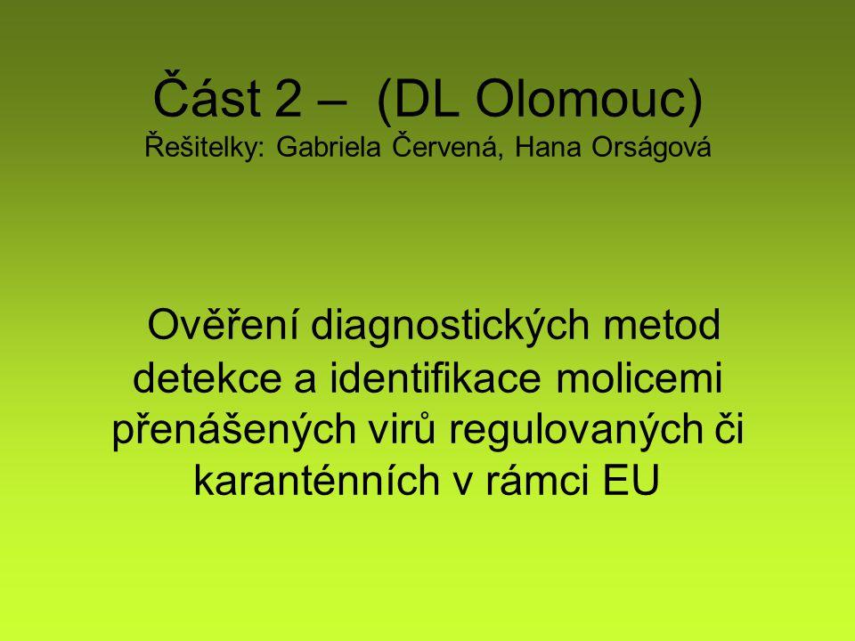 Část 2 – (DL Olomouc) Řešitelky: Gabriela Červená, Hana Orságová Ověření diagnostických metod detekce a identifikace molicemi přenášených virů regulovaných či karanténních v rámci EU