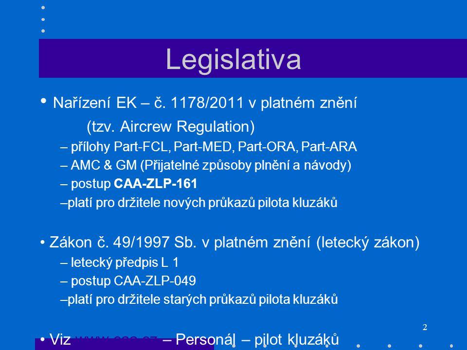 2 Legislativa Nařízení EK – č. 1178/2011 v platném znění (tzv. Aircrew Regulation) – přílohy Part-FCL, Part-MED, Part-ORA, Part-ARA – AMC & GM (Přijat
