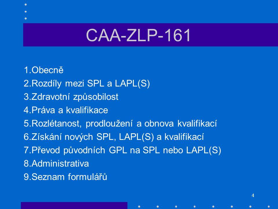 4 CAA-ZLP-161 1.Obecně 2.Rozdíly mezi SPL a LAPL(S) 3.Zdravotní způsobilost 4.Práva a kvalifikace 5.Rozlétanost, prodloužení a obnova kvalifikací 6.Zí