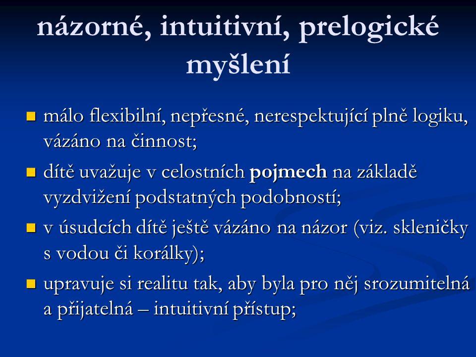 názorné, intuitivní, prelogické myšlení málo flexibilní, nepřesné, nerespektující plně logiku, vázáno na činnost; málo flexibilní, nepřesné, nerespekt