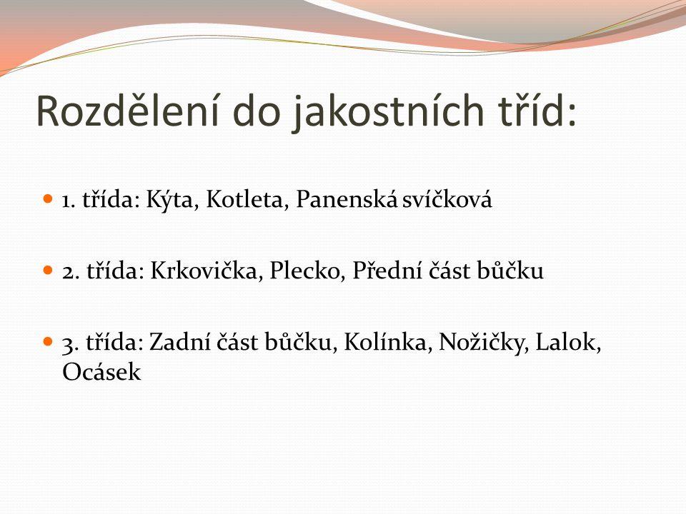 Rozdělení do jakostních tříd: 1.třída: Kýta, Kotleta, Panenská svíčková 2.