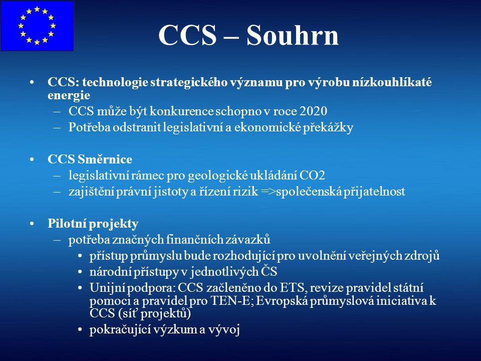 CCS – Souhrn CCS: technologie strategického významu pro výrobu nízkouhlíkaté energie –CCS může být konkurence schopno v roce 2020 –Potřeba odstranit l
