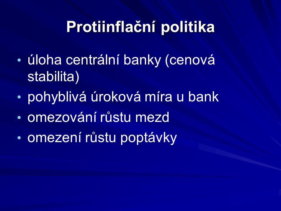 Protiinflační politika úloha centrální banky (cenová stabilita) pohyblivá úroková míra u bank omezování růstu mezd omezení růstu poptávky
