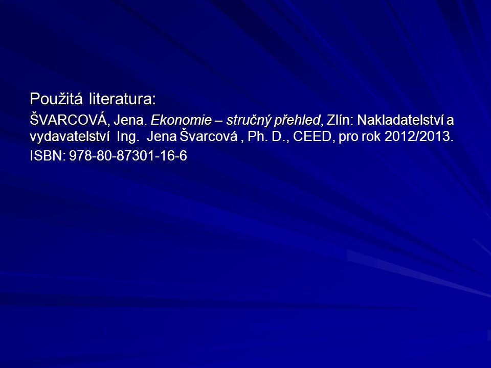 Použitá literatura: ŠVARCOVÁ, Jena. Ekonomie – stručný přehled, Zlín: Nakladatelství a vydavatelství ŠVARCOVÁ, Jena. Ekonomie – stručný přehled, Zlín: