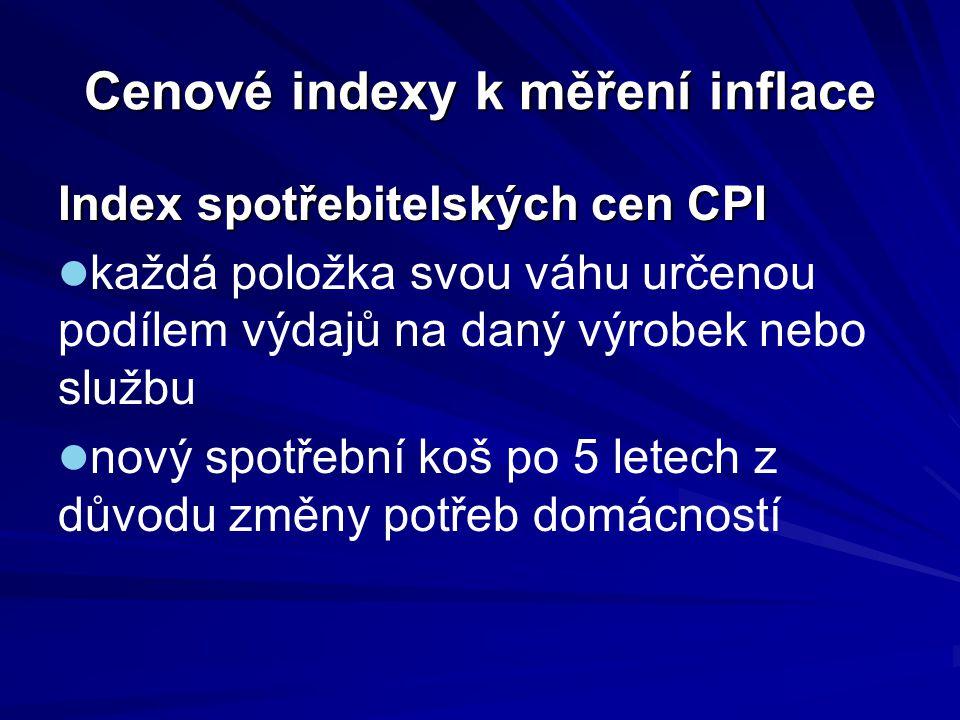 Cenové indexy k měření inflace Index spotřebitelských cen CPI každá položka svou váhu určenou podílem výdajů na daný výrobek nebo službu nový spotřebn