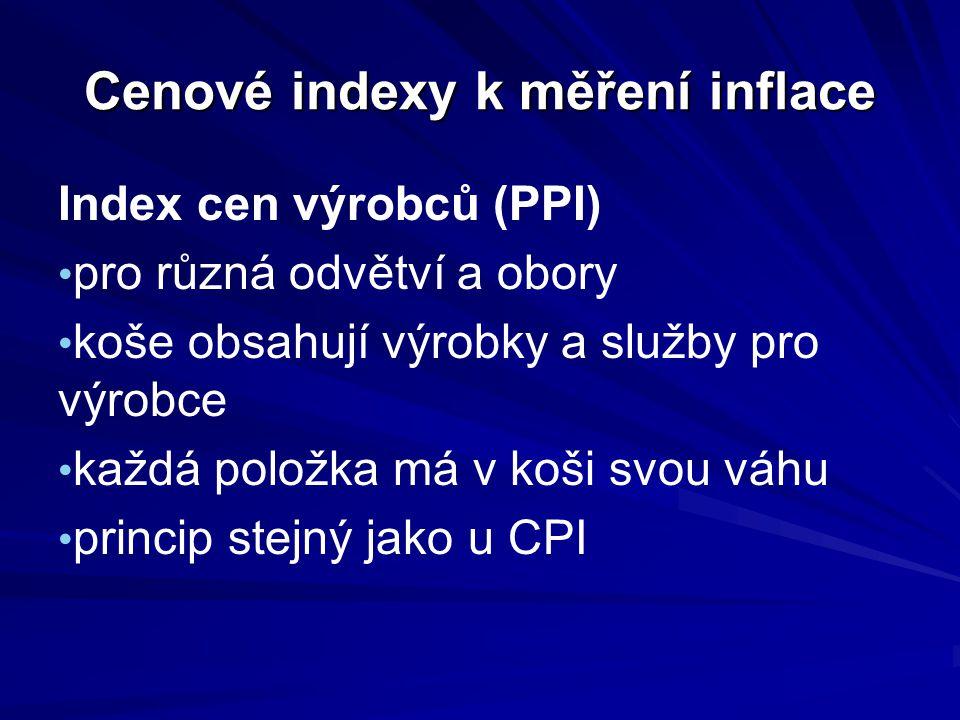 Cenové indexy k měření inflace Deflátor HDP (HNP) košem jsou všechny spotřebované výrobky a služby v daném období každý rok se koš mění váhou je podíl výrobků nebo služby v produktu