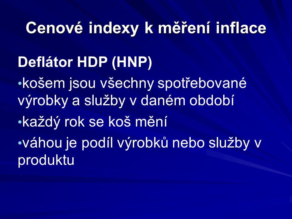 Cenové indexy k měření inflace Deflátor HDP (HNP) košem jsou všechny spotřebované výrobky a služby v daném období každý rok se koš mění váhou je podíl
