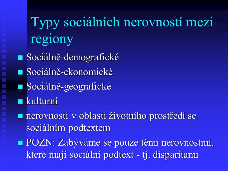 Typy sociálních nerovností mezi regiony n Sociálně-demografické n Sociálně-ekonomické n Sociálně-geografické n kulturní n nerovnosti v oblasti životní